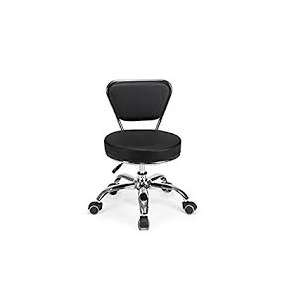 Beauty International Pedicure Stool With Backrest Black