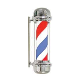 Barber Pole Chrome With Blue & White Sripes