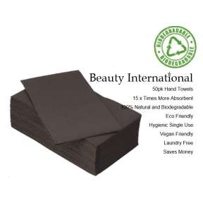 Disposable Bio Degradable Salon Premium Hand Towel Black 50pk